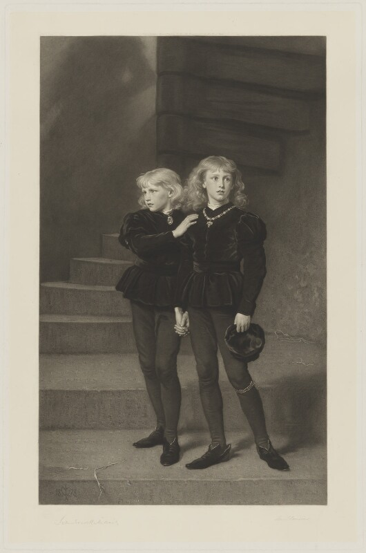 The Princes in the Tower (Richard, Duke of York and Duke of Norfolk; King Edward V), by Samuel Cousins, published by  Fine Art Society Ltd, after  Sir John Everett Millais, 1st Bt, published 16 March 1879 (1878) - NPG D38019 - © National Portrait Gallery, London