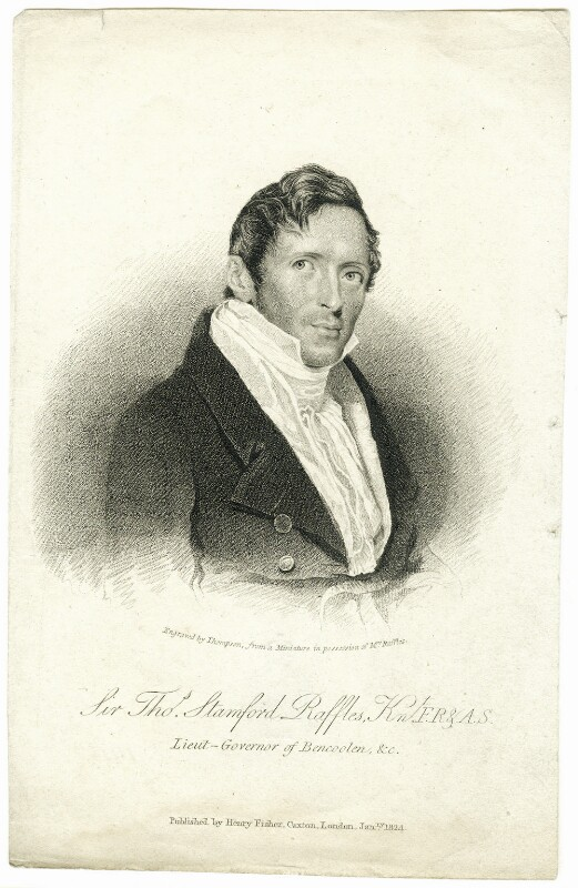Sir Thomas Stamford Bingley Raffles, by James Thomson (Thompson), published by  Henry Fisher, published January 1824 - NPG D38020 - © National Portrait Gallery, London