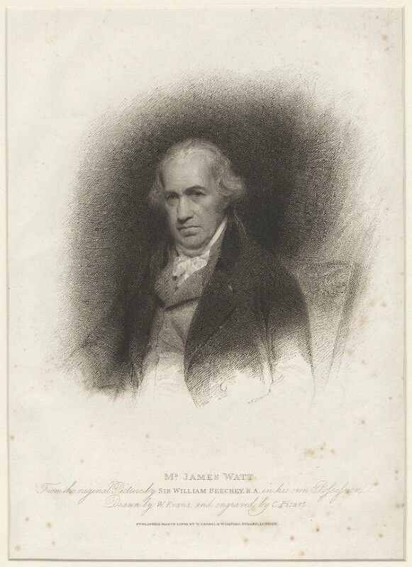 James Watt, by Charles Picart, published by  T. Cadell & W. Davies, after  William Evans, after  Sir William Beechey, published 1809 - NPG D37897 - © National Portrait Gallery, London