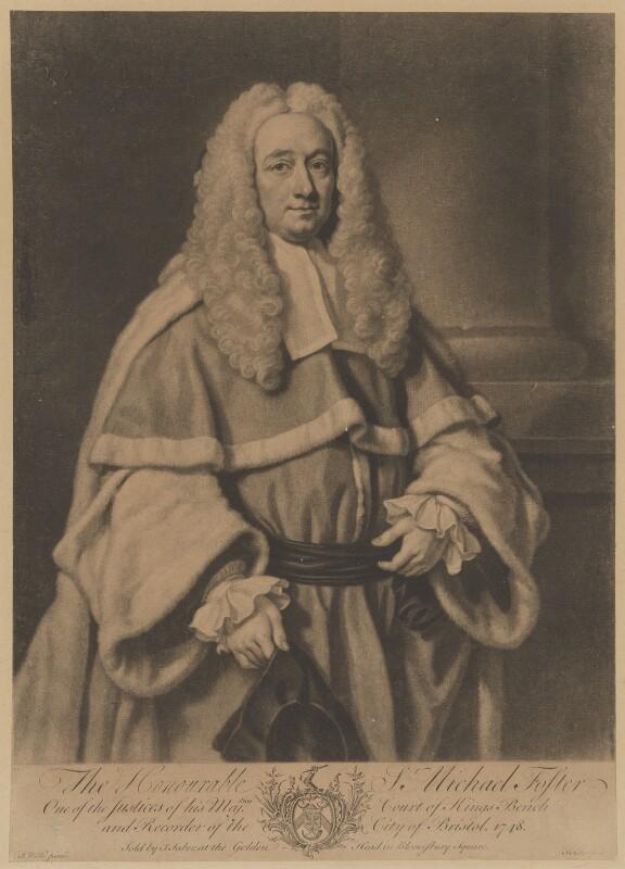 Sir Michael Foster, by John Faber Jr, after  James Wills, 1748 - NPG D37767 - © National Portrait Gallery, London
