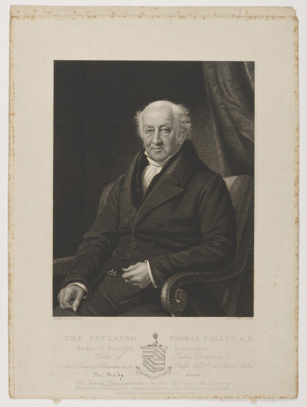 Thomas Foxley, by James Thomson (Thompson), published by  Agnew & Zanetti, after  James Lonsdale, published March 1835 - NPG D37790 - © National Portrait Gallery, London