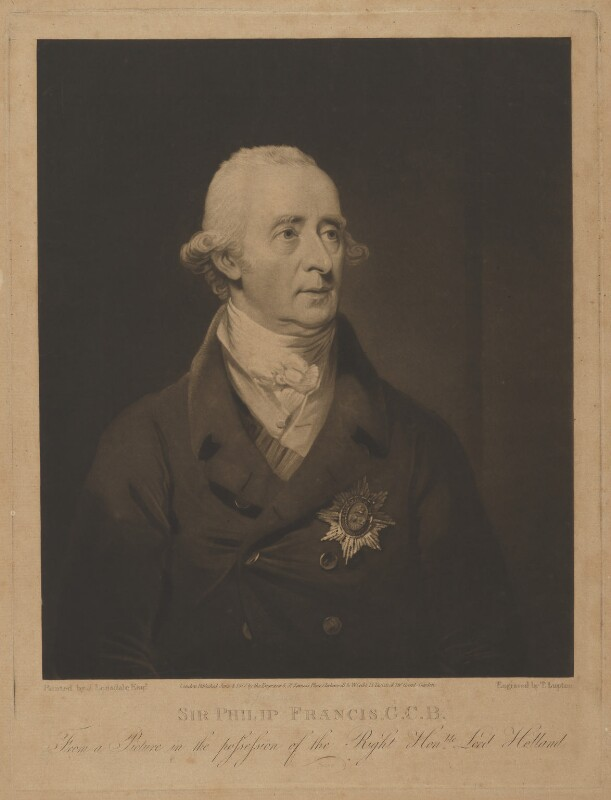 Sir Philip Francis, by and published by Thomas Goff Lupton, and published by  William Cribb, after  James Lonsdale, published 4 June 1817 - NPG D37793 - © National Portrait Gallery, London
