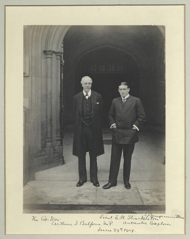 Arthur James Balfour, 1st Earl of Balfour; Sir Ernest Henry Shackleton, by Sir (John) Benjamin Stone, 29 June 1909 - NPG x87729 - © National Portrait Gallery, London