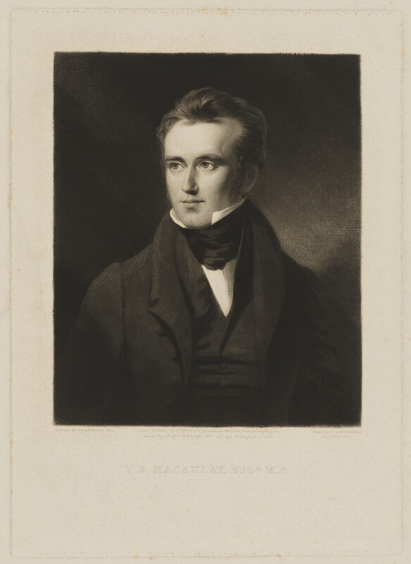 Thomas Babington Macaulay, Baron Macaulay, by and published by Samuel William Reynolds, after  Samuel William Reynolds Jr, published 24 July 1833 - NPG D38062 - © National Portrait Gallery, London