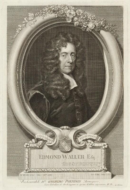 Edmund Waller, by George Vertue, after  Sir Godfrey Kneller, Bt, 1727 (1684) - NPG D38015 - © National Portrait Gallery, London