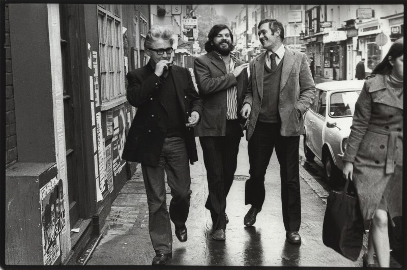 Jeffrey Joseph Bernard; Martin Tomkinson; Richard Ingrams, by Eric Hands, mid 1970s - NPG x133192 - © Eric Hands / National Portrait Gallery, London