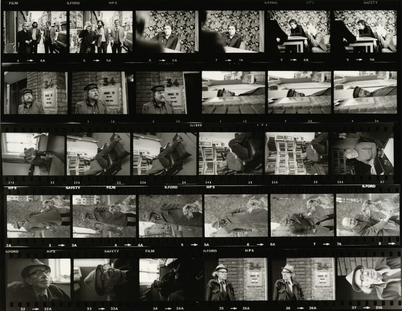 Contact sheet including Willie Rushton; Malcolm Muggeridge; Auberon Waugh; Francis Claud Cockburn, by Eric Hands, 1979 - NPG x133201 - © Eric Hands / National Portrait Gallery, London