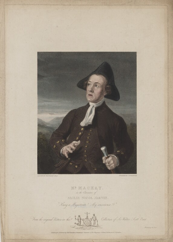 Charles Mackay as Bailie Nicol Jarvie in Walter Scott's 'Rob Roy', by John Horsburgh, printed by  McQueen (Macqueen), published by  Robert Hamilton, published by  Hurst, Robinson & Co, after  Sir William Allan, published 1825-1826 - NPG D38092 - © National Portrait Gallery, London