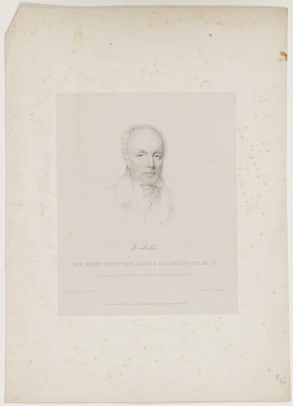 Sir James Mackintosh, by Isaac Ware Slater, printed by  Charles Joseph Hullmandel, published by  Joseph Dickinson, published by and after  Joseph Slater, published 3 July 1832 - NPG D38104 - © National Portrait Gallery, London