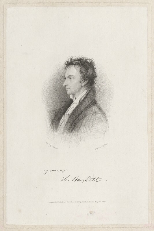 William Hazlitt, by Charles W. Marr, published by  Saunders & Otley, after  William Bewick, published 20 May 1836 - NPG D38514 - © National Portrait Gallery, London