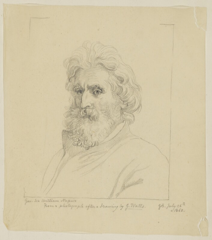 Sir William Francis Patrick Napier, by Sir George Scharf, after  George Frederic Watts, after  Unknown photographer, 26 July 1860 - NPG D38706 - © National Portrait Gallery, London