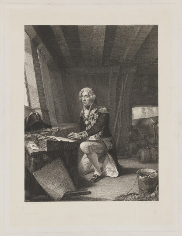 Nelson at Prayer, on going into battle at Trafalgar (Horatio Nelson), by Ferdinand Jean de la Ferté Joubert, printed by  McQueen (Macqueen), after  Thomas Jones Barker, declared to the Printsellers' Association 14 June 1854 - NPG D38495 - © National Portrait Gallery, London