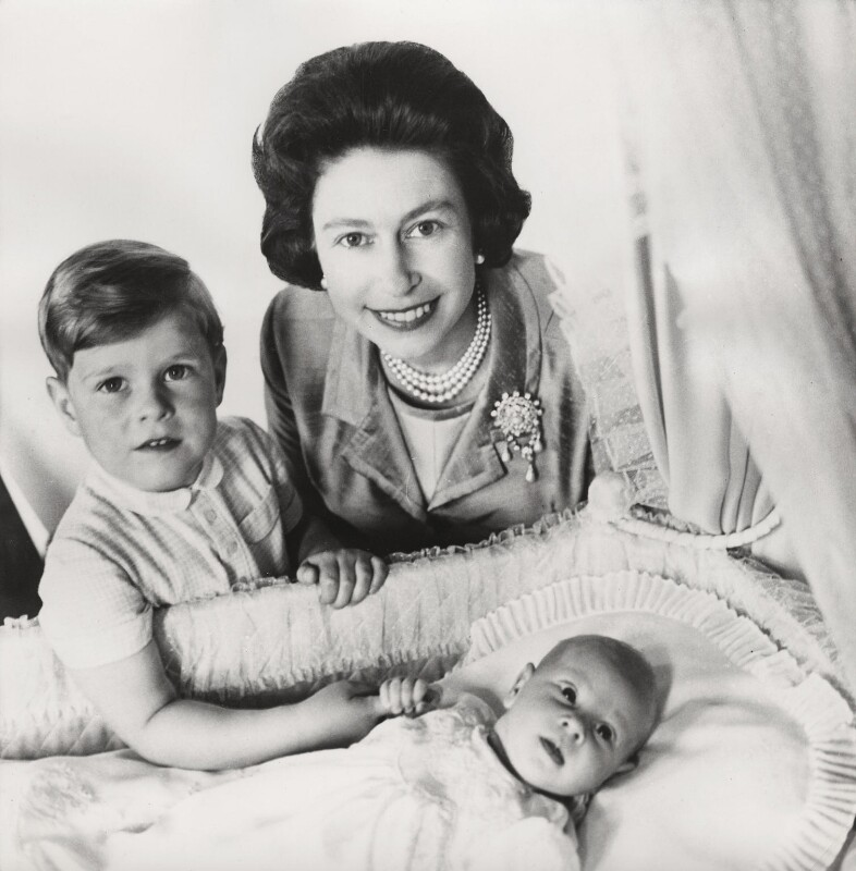 Prince Andrew, Duke of York; Queen Elizabeth II; Prince Edward, by Cecil Beaton, May 1964 - NPG x133277 - © V&A Images