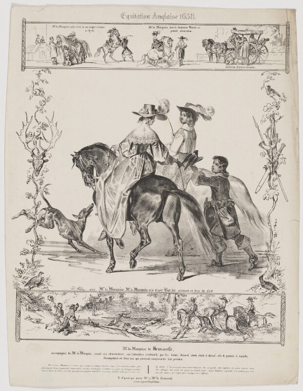Equitation Anglaise 1658, by Charles Aubry, printed and published by  Charles Etienne Pierre Motte, 1833 - NPG D38716 - © National Portrait Gallery, London