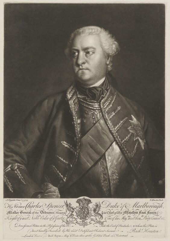 Charles Spencer, 3rd Duke of Marlborough, by Richard Houston, sold by  Robert Sayer, after  Sir Joshua Reynolds, (1758) - NPG D38244 - © National Portrait Gallery, London