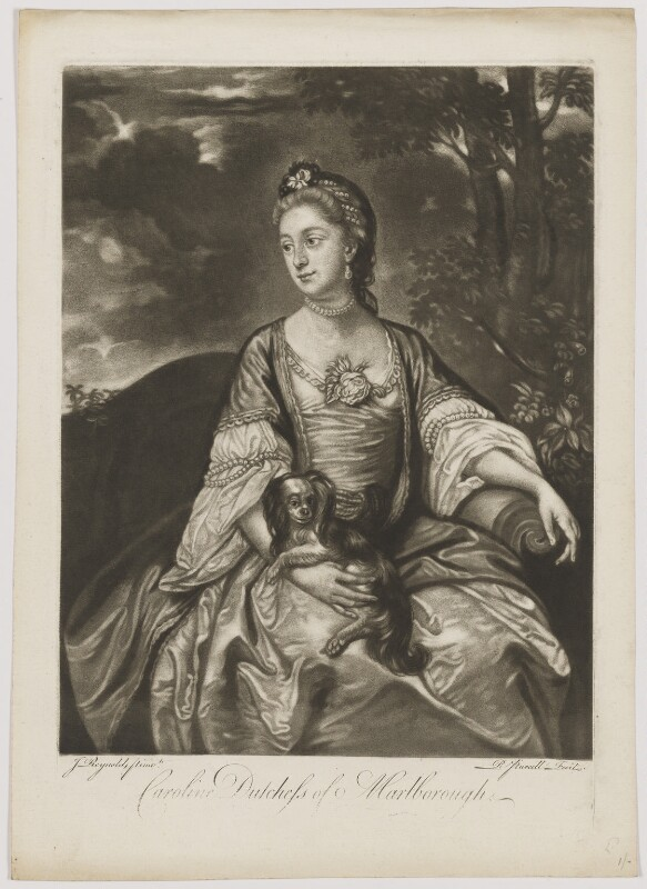 Lady Caroline Spencer (née Russell), Duchess of Marlborough, by Richard Purcell (H. Fowler, Charles or Philip Corbutt), after  Sir Joshua Reynolds, 1760s (circa 1759-1762) - NPG D38247 - © National Portrait Gallery, London