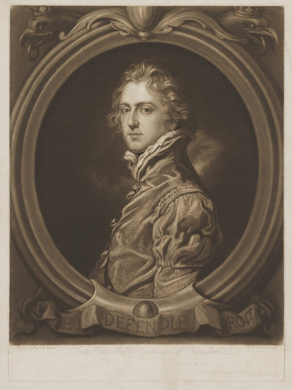 George Spencer-Churchill, 5th Duke of Marlborough when Marquis of Blandford, by William Whiston Barney, after  Richard Cosway, 1803-1808 - NPG D38256 - © National Portrait Gallery, London