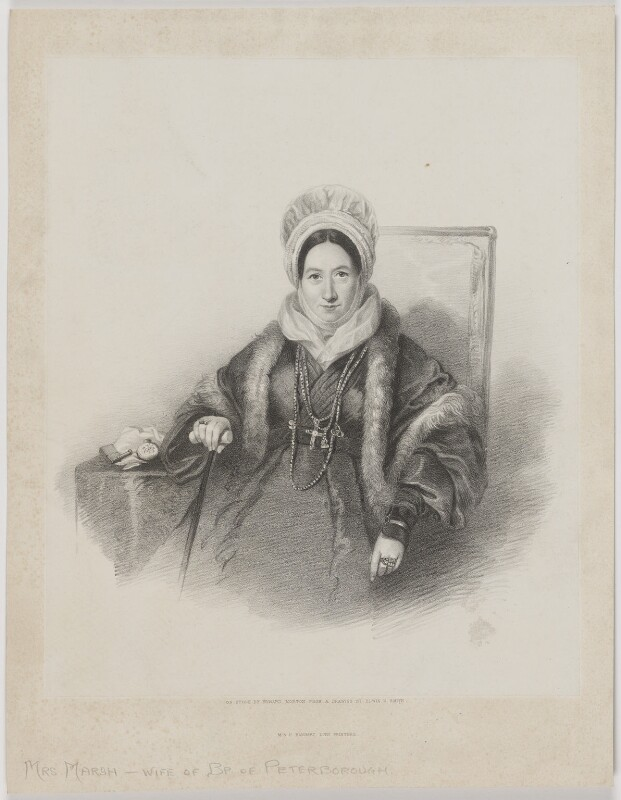 Marianne Emilie Charlotte Marsh (née Lecarriere), by Edward Morton, printed by  M & N Hanhart, after  Edwin Dalton Smith, early 1840s - NPG D38270 - © National Portrait Gallery, London