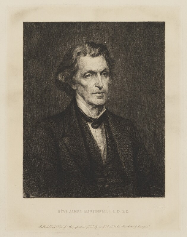 James Martineau, by Paul Adolphe Rajon, published by  Thomas Agnew & Sons Ltd, after  George Frederic Watts, published 1 July 1876 (1873) - NPG D38299 - © National Portrait Gallery, London