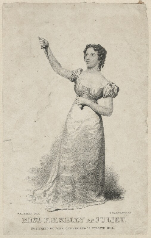 Frances Harriet Kelly as Juliet, by Thomas Woolnoth, published by  John Cumberland, after  Thomas Charles Wageman, published 1829 - NPG D38555 - © National Portrait Gallery, London