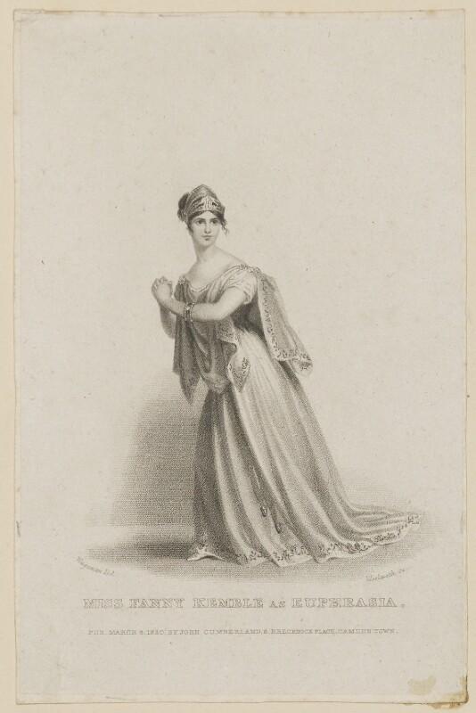 Fanny Kemble as Euphrasia, by Thomas Woolnoth, published by  John Cumberland, after  Thomas Charles Wageman, published 1830 - NPG D38560 - © National Portrait Gallery, London