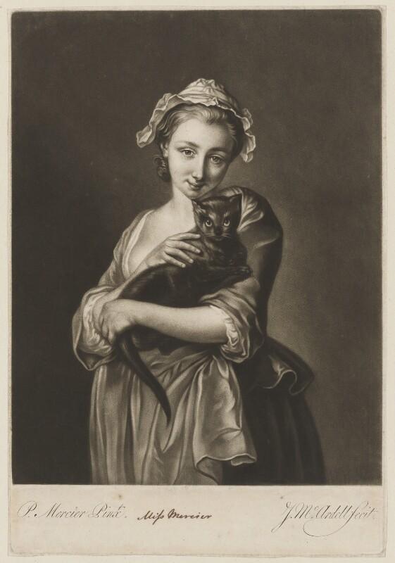 Charlotte Mercier, by James Macardell, after  Philip Mercier, published 1756 - NPG D38372 - © National Portrait Gallery, London
