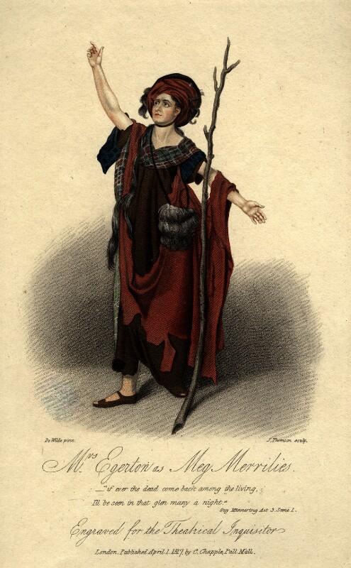Sarah Egerton (née Fisher) as Meg Merrilies in Terry's 'Guy Mannering', by James Thomson (Thompson), published by  Clement Chapple, after  Samuel De Wilde, published 1 April 1817 - NPG D10966 - © National Portrait Gallery, London