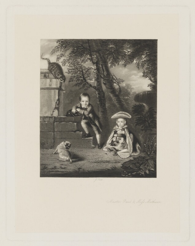 'Master Paul & Miss Methuen' (Paul Cobb Methuen; Christian Irby (née Methuen), Lady Boston), by James Scott, after  Sir Joshua Reynolds, 1864 (1758) - NPG D38385 - © National Portrait Gallery, London