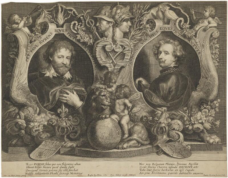 Sir Peter Paul Rubens; Sir Anthony van Dyck, by Paulus Pontius (Paulus Du Pont), after  Sir Anthony van Dyck, mid 17th century - NPG D38809 - © National Portrait Gallery, London