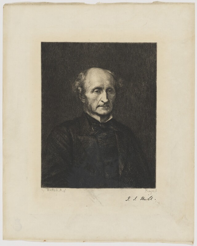 John Stuart Mill, by Paul Adolphe Rajon, after  George Frederic Watts, (1873) - NPG D38409 - © National Portrait Gallery, London