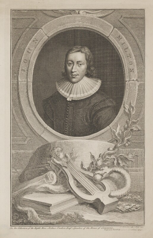 John Milton, by Jacobus Houbraken, published by  John & Paul Knapton, published 1741 - NPG D38835 - © National Portrait Gallery, London
