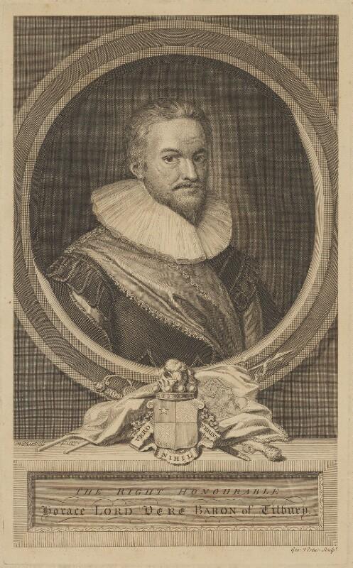 Horace Vere, Baron Vere of Tilbury, by George Vertue, after  Michiel Jansz. van Miereveldt, circa 1710-1750 - NPG D39230 - © National Portrait Gallery, London