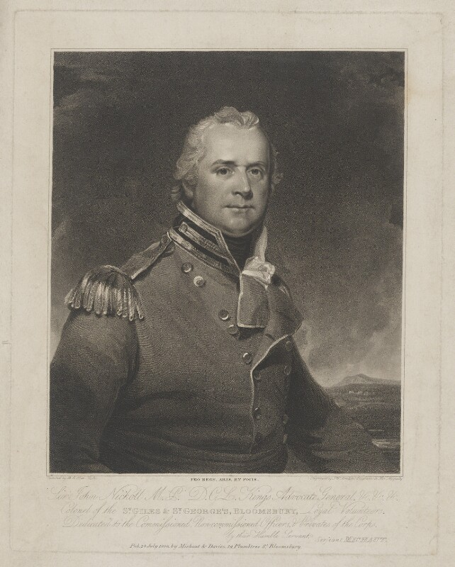 Sir John Nicholl, by and published by and after Peltro William Tomkins, published 28 July 1806 - NPG D38756 - © National Portrait Gallery, London