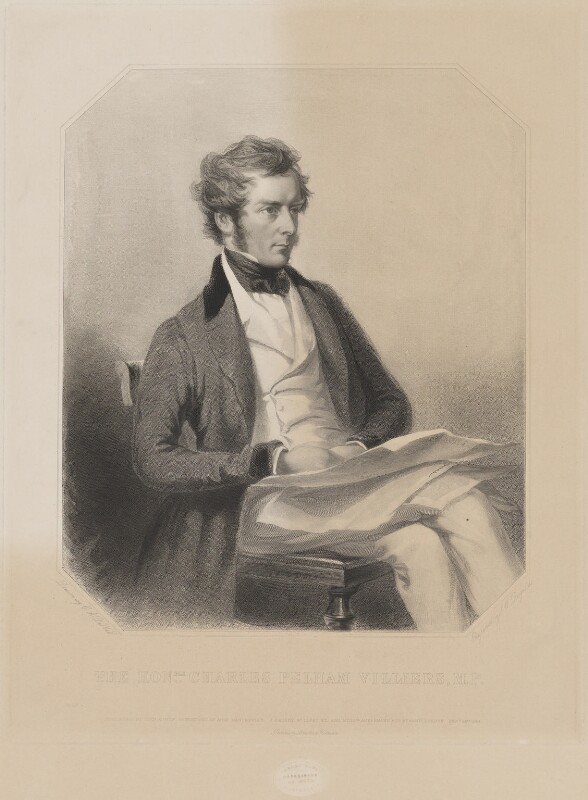 Charles Pelham Villiers, by Samuel William Reynolds Jr, printed by  Brooker & Harrison, published by  Thomas Agnew, published by  John Gadsby, published by  Ackermann & Co, after  Charles Allen Duval, published 28 February 1844 - NPG D39241 - © National Portrait Gallery, London