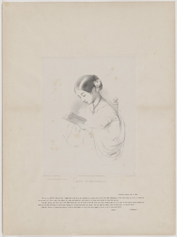 Florence Nightingale, by Richard James Lane, printed by  Day & Son, published by  Paul and Dominic Colnaghi & Co, after  Joanna Hilary Bonham Carter, after  John Pinches, published 28 November 1854 - NPG D38970 - © National Portrait Gallery, London
