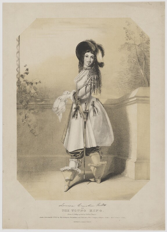 Louisa Cranstoun Nisbett (née Macnamara, later Boothby) as The Young King, by John Deffett Francis, printed by  Jérémie Graf, published by  Welch & Gwynne, published 1 November 1837 - NPG D38971 - © National Portrait Gallery, London