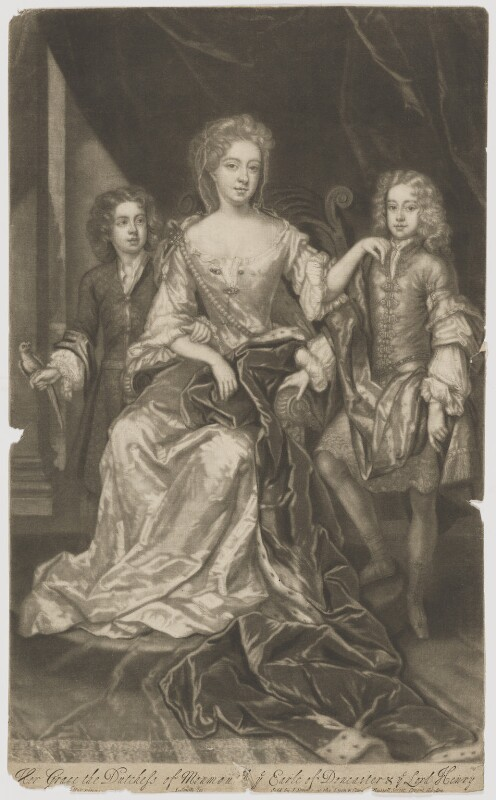 James Scott, Earl of Dalkeith; Anna Scott, Duchess of Monmouth and Duchess of Buccleuch; Henry Scott, 1st Earl of Deloraine, by and published by John Smith, after  Sir Godfrey Kneller, Bt, 1688 - NPG D38871 - © National Portrait Gallery, London
