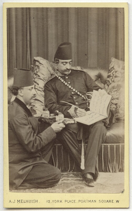 Nasser al-Din, Shah of Persia with an attendant, by A.J. (Arthur James) Melhuish, 1873 - NPG x134169 - © National Portrait Gallery, London