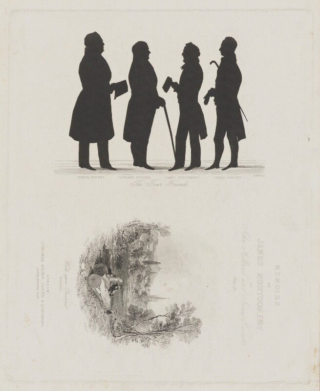 'The Four Friends' and frontispiece to the 'Memoirs of James Montgomery', Vol. II, by Henry Adlard, published by  Longman, Brown, Green & Longmans, vignette after  Henry Warren, circa 1853 - NPG D38912 - © National Portrait Gallery, London