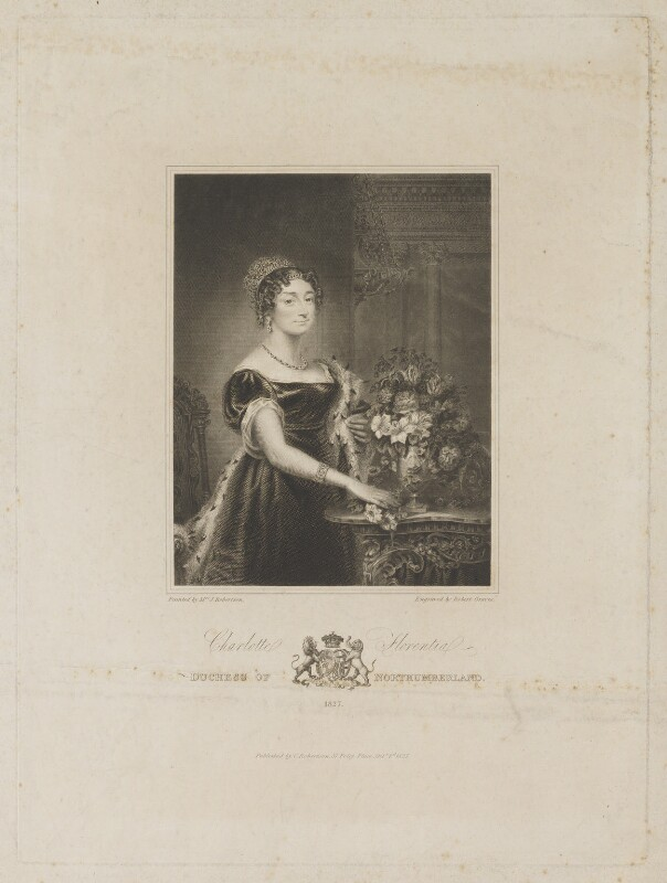 Charlotte Florentia Percy (née Clive), Duchess of Northumberland, by Robert Graves, after and published by  Christina Robertson (née Saunders), published 1 October 1827 - NPG D39315 - © National Portrait Gallery, London