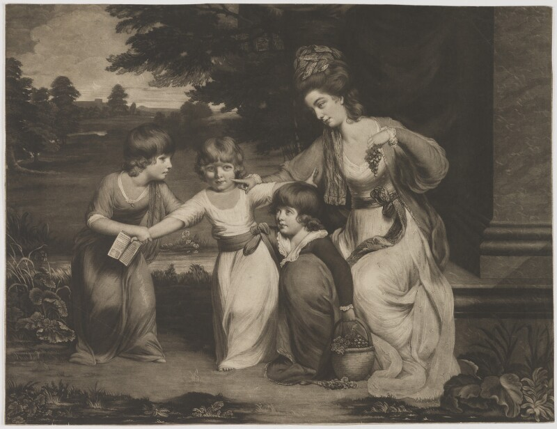 A Lady and her Children, by and published by Thomas Watson, after  Daniel Gardner, published 1778 - NPG D39322 - © National Portrait Gallery, London