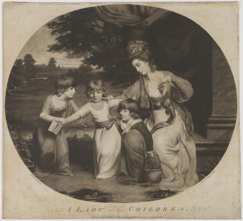 A Lady and her Children, by and published by Thomas Watson, and published by  William Dickinson, after  Daniel Gardner, published 1 January 1778 - NPG D39323 - © National Portrait Gallery, London
