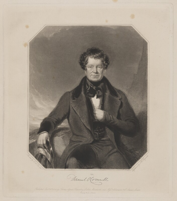 Daniel O'Connell, by Samuel William Reynolds Jr, printed by  Brooker & Harrison, published by  Thomas Agnew, and published by  Ackermann & Co, after  Charles Allen Duval, published 26 January 1844 - NPG D39346 - © National Portrait Gallery, London