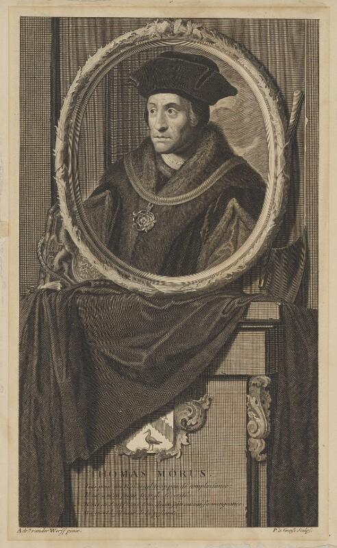Sir Thomas More, by Pieter Stevens van Gunst, after  Adriaen van der Werff, 1697 - NPG D39007 - © National Portrait Gallery, London