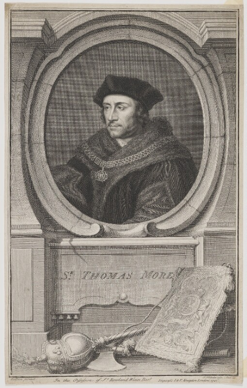 Sir Thomas More, by Jacobus Houbraken, published by  John & Paul Knapton, after  Hans Holbein the Younger, published 1741 - NPG D39008 - © National Portrait Gallery, London
