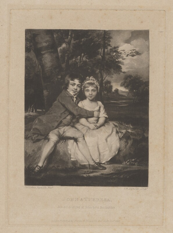 John Parker, 1st Earl of Morley; Theresa Villiers (née Parker), by Samuel William Reynolds, published by  Molteno & Graves, after  Sir Joshua Reynolds, published October 1834 (1779) - NPG D39035 - © National Portrait Gallery, London
