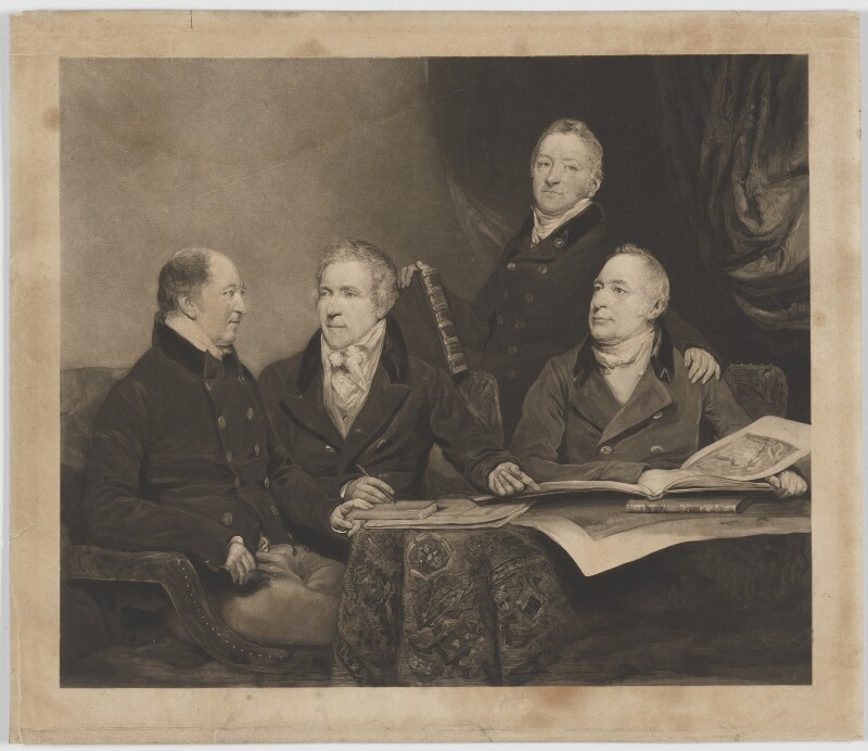 Henry Phipps, Viscount Normanby and Earl of Mulgrave; Sir George Howland Beaumont, 7th Bt; Edmund Phipps; Augustus Phipps, by William James Ward, after  John Jackson, (1820) - NPG D39087 - © National Portrait Gallery, London