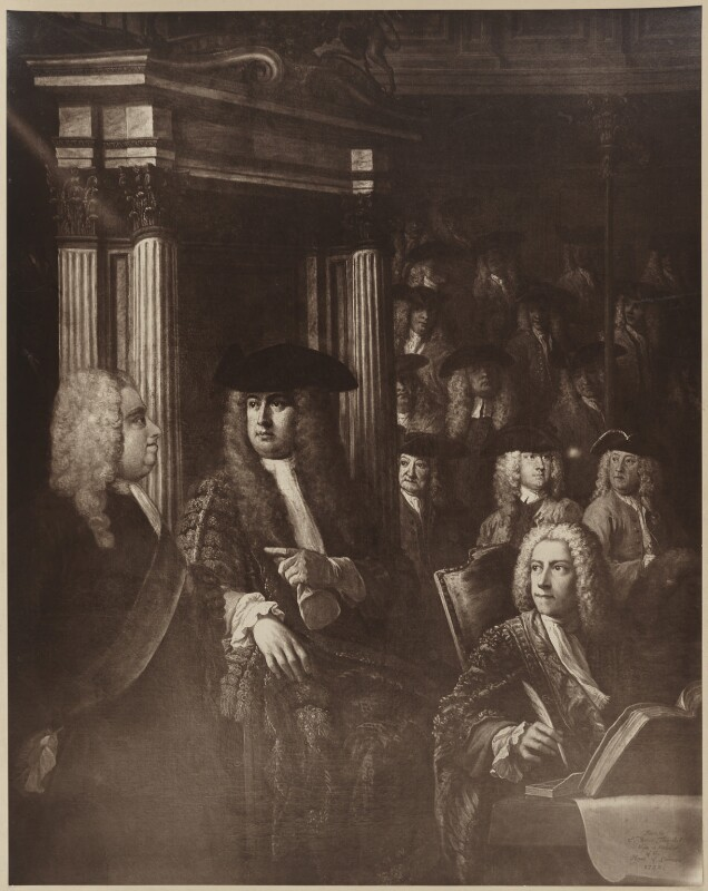 House of Commons, 1730, after William Hogarth, and after  Sir James Thornhill, early 20th century (1730) - NPG D39373 - © National Portrait Gallery, London