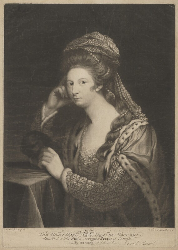 Frances Carpenter (née Manners, later Anstruther), Countess of Tyrconnell, by David Martin, published 1 February 1772 - NPG D39457 - © National Portrait Gallery, London