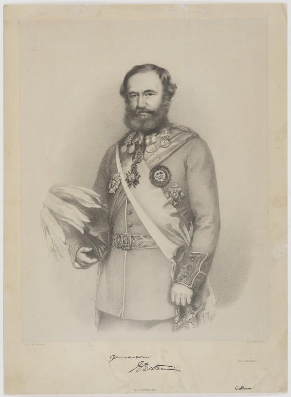 Sir James Outram, 1st Bt, by Richard James Lane, printed by  M & N Hanhart, after  Thomas Brigstocke, circa 1863 - NPG D39393 - © National Portrait Gallery, London